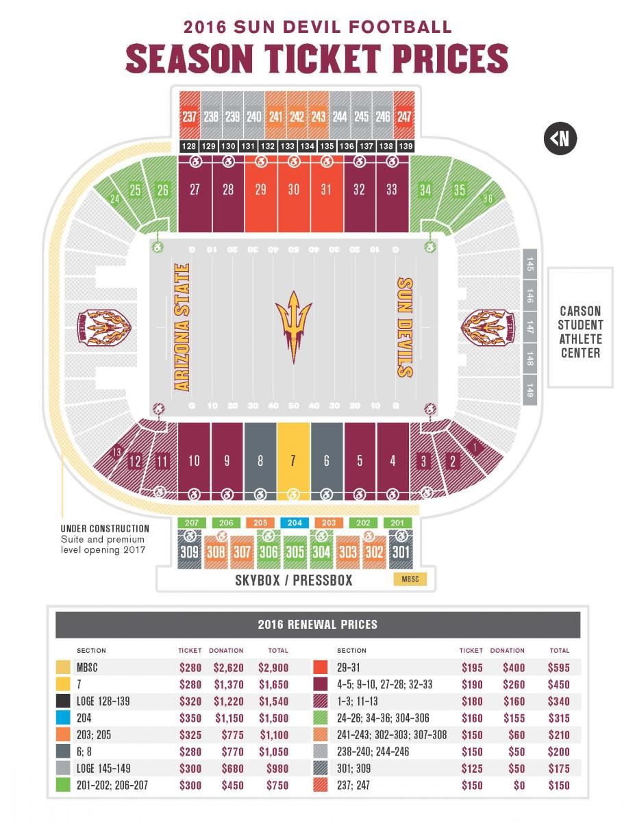 Sun devils seating chart sun devil stadium seating chart