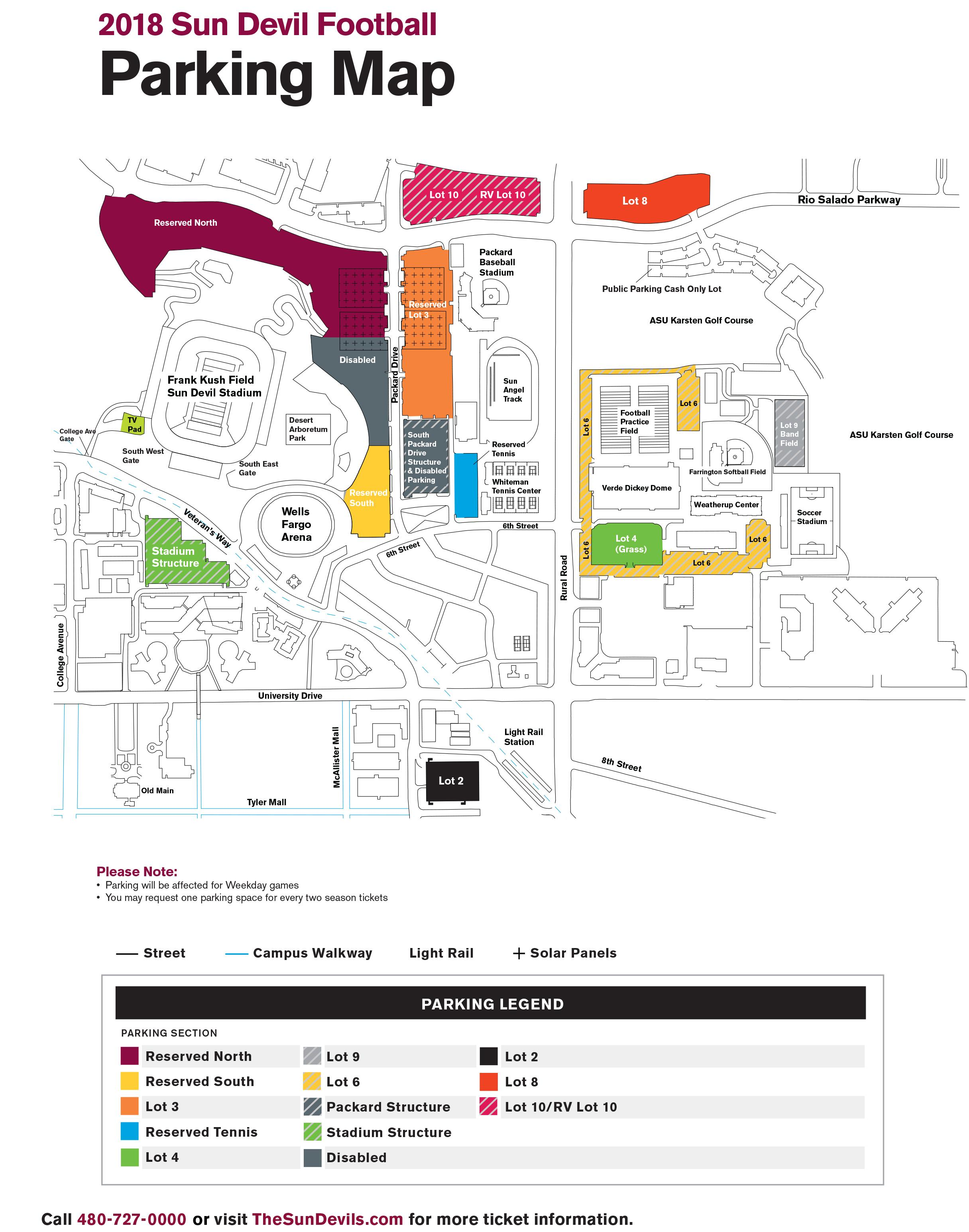 2018 Sun Devil Football Parking Map Arizona State