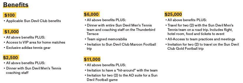 Sun Devil Men's Tennis Benefits